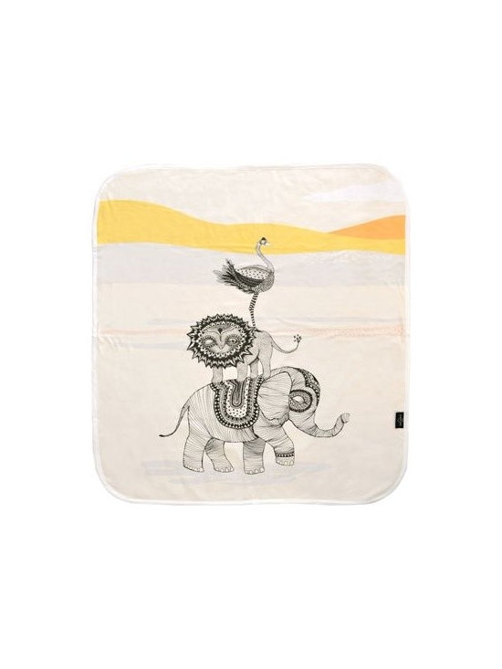Mini Empire - Mini Empire Baby Blankets, Africa - Baby blankets made of super soft cotton jersey. The blanket has a large illustration on the front by talented brand Mini Empire, and a soft grey & white pattern on the back. The perfect gift for a new born