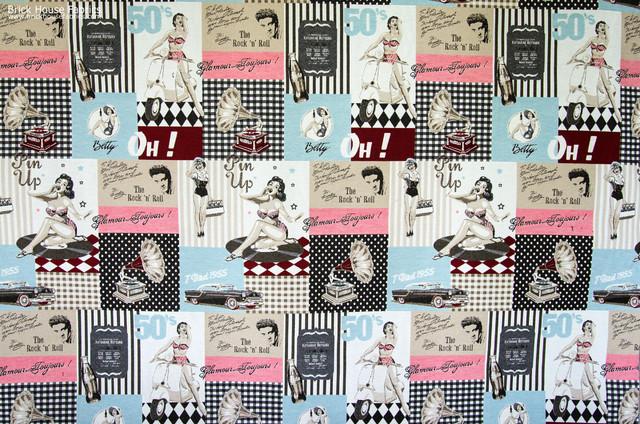Retro Elvis Pin Up Fabric 50s