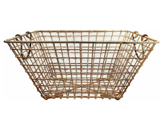 Oyster Basket - original paint, sturdy construsction.  Each with is own patina that only be created from years of use. These were  used to gather and carry oysters in the south of France.