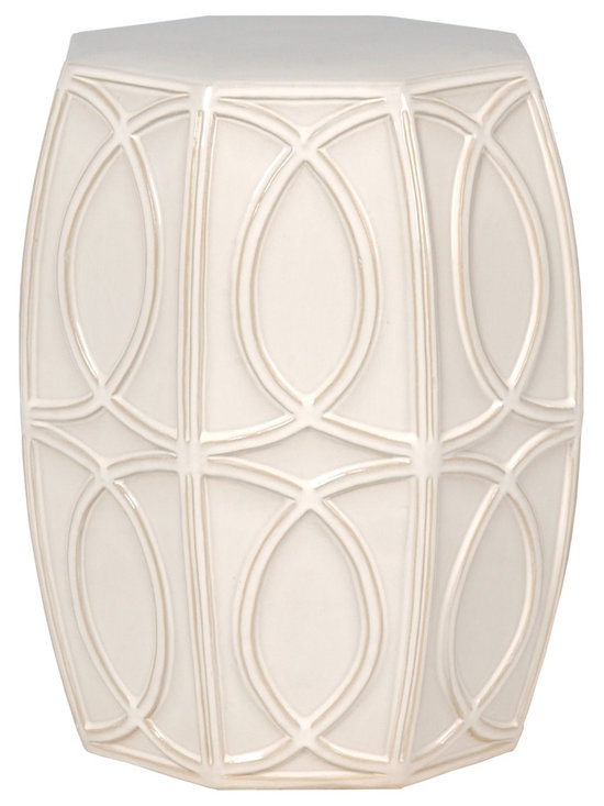 White Treillage Garden Stool - Traditionalists will love how this garden stool seamlessly fits in with their décor while those preferring more modern looks can also appreciate this stool for its geometric motif and striking colors. Use this stool to create extra seating or as a design element in any room.