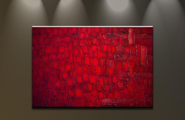 bilder auf leinwand lgem lde abstrakte kunst handgemalt moderne gro e rot red modern. Black Bedroom Furniture Sets. Home Design Ideas