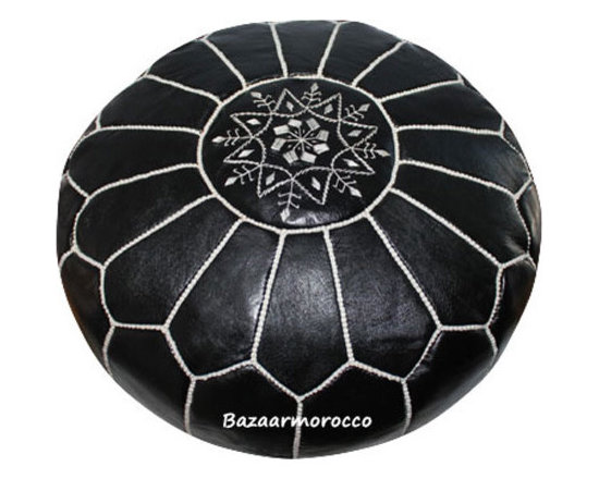 MOROCCAN LEATHER FOOTSTOOL OTTOMAN STYLE LARGE POUF, POUFFE Black -