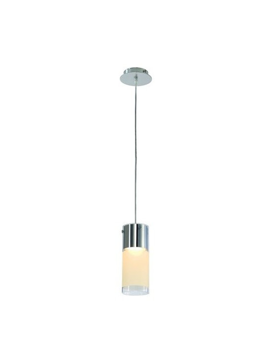 SLV Lighting - SLV Lighting | Commo PD-1 Pendant Light - Design by SLV Lighting.The Commo PD-1 Pendant Light may seem plain at first glance, but closer inspection reveals its subtle design characteristics. Commo features a glass shade with a frosted ring around it providing a of play of diffused and non-diffused light. Housing the light itself is a steel cylinder with delicate metal accents that hold the glass to the fixture. Supplies direct and ambient lighting.