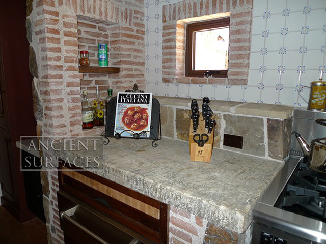 Countertops out of Thick Mediterranean Antique Limestone Slabs mediterranean-kitchen-countertops