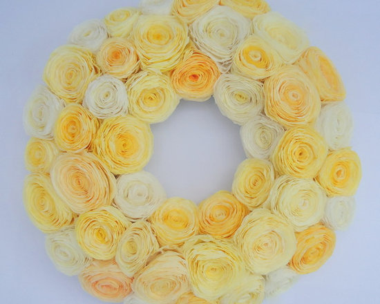 Hand Dyed Yellow Paper Flower Wreath - This is an example of a custom wreath I made in shades of yellow