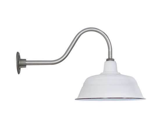 """Barn Light Electric - Goodrich™ Bomber Porcelain Gooseneck Light - Once available only in a 17"""" size, the Goodrich™ Bomber now comes in four shade sizes starting at 11"""" up to the popular 17"""" size. The Bomber is the deepest porcelain gooseneck we sell and it will quickly become the focal point of any outdoor space from porches and garages to restaurants and other commercial settings. The tough porcelain enamel finish on this American made barn light is baked on to a high gloss finish that will never fade or corrode and will give you a lifetime of use. Customize with color, arm style, and other options including a dusk-to-dawn sensor that guarantees your light comes on at dusk and off at dawn even when you're away. For coordinating pendant lighting, consider the Benjamin™ Bomber Porcelain Stem Mount Light or the Ivanhoe™ Bomber Porcelain Pendant Light."""