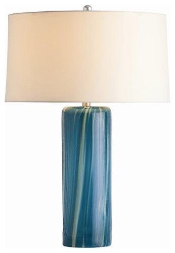 Arteriors Talia Aquamarine Wavy Stripe Glass Lamp traditional-table-lamps