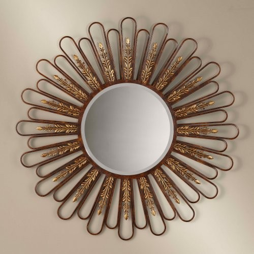 Sunburst with Gold Leaf Mirror - 37.75 diam. in. traditional-mirrors