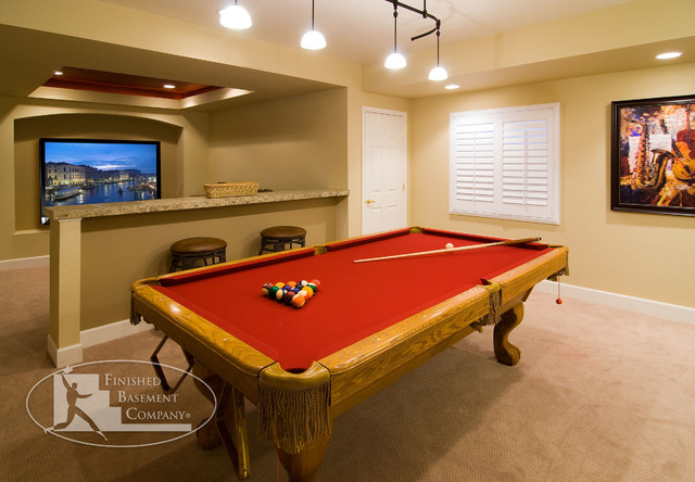 Basement pool table home theater traditional for 13 a table theatre