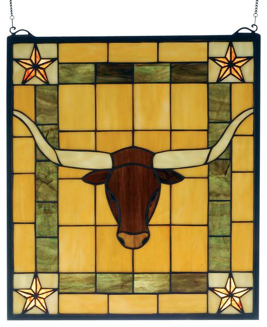 "Meyda Lighting 78252 16""W x 18""H Texas Longhorn Stained Glass Window traditional-home-decor"