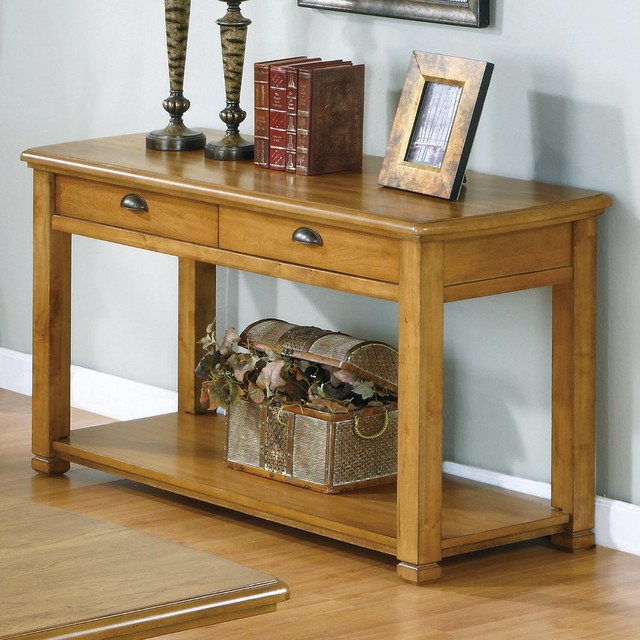 Sofa console table in light oak veneer with two drawers for Sofa table lighting