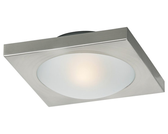 """ET2 - Piccolo Nickel Square 7 1/2"""" Wide Ceiling Light - Add a clean contemporary lighting accent with this flushmount ceiling light. From the Piccolo Collection. Nickel finish. Frost white glass. Includes one 40 watt G9 xenon bulb. 7 1/2"""" wide. 3"""" high.  Nickel finish.  Frost white glass.  Includes one 40 watt G9 xenon bulb.  7 1/2"""" wide.  3"""" high."""