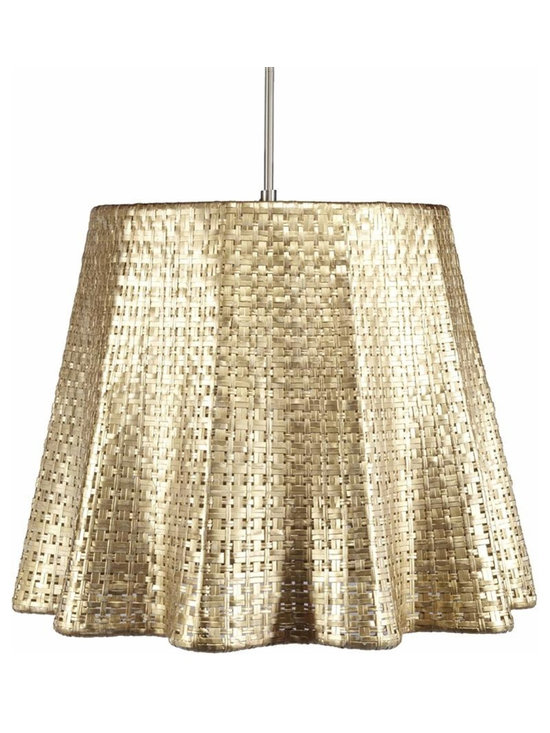 Seline Drapery Pendant Light, Metallic - Hand-woven aluminum, fashioned after a draped table, is finished in a subtle metallic patina. The Selene collection comes in four styles of shades each with UL approved brushed nickle pendant kit.