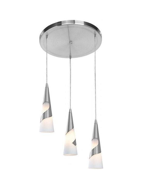 Access Lighting 50502-BS/OPL Three Light Steel Multi Light Pendant -