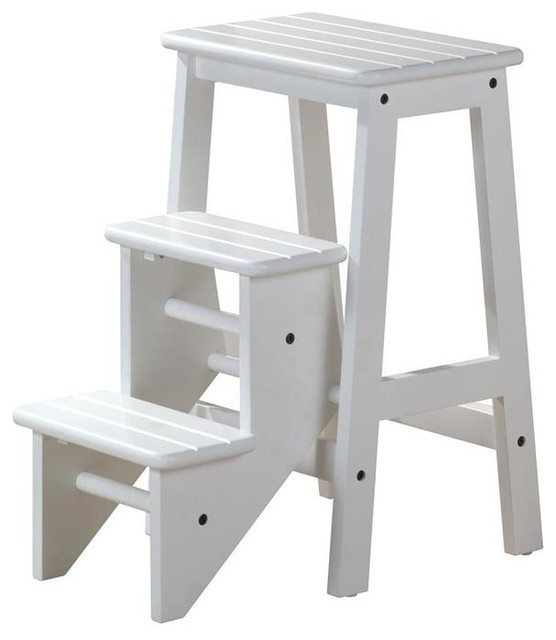 3 Step Wood Step Stool (Brown) - Contemporary - Ladders