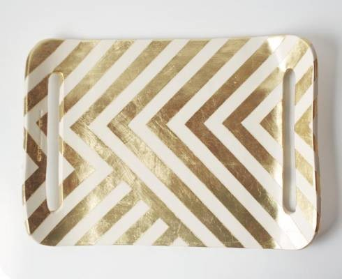 Zag Gold Leaf Tray contemporary-platters