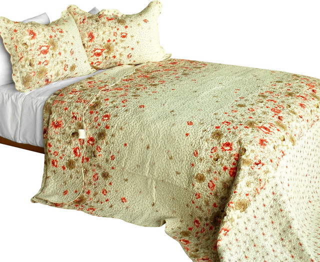 [Splendid Beauty] 3PC Cotton Contained Patchwork Quilt Set (Full/Queen Size) traditional-quilts