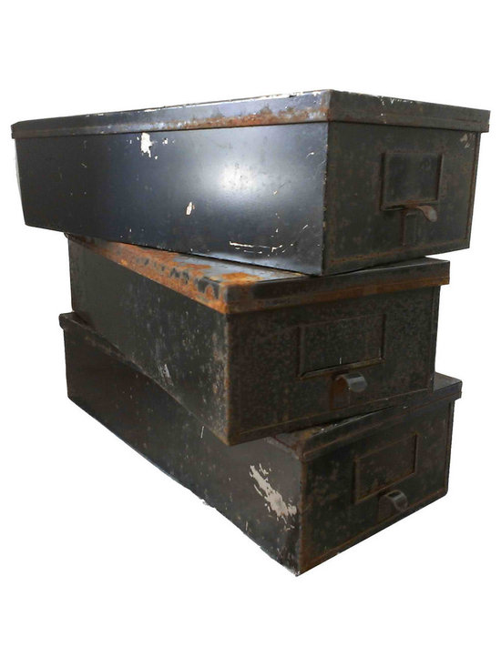 Metal Rustic Bins - Set Of 3 Metal Storage Bins, Each bin is unique in its original vintage patina. They are sturdy and well made. I'm grouping them sets of 3 so you can stack them or place them next to each other on a shelf to gather the clutter we all accumulate over time.