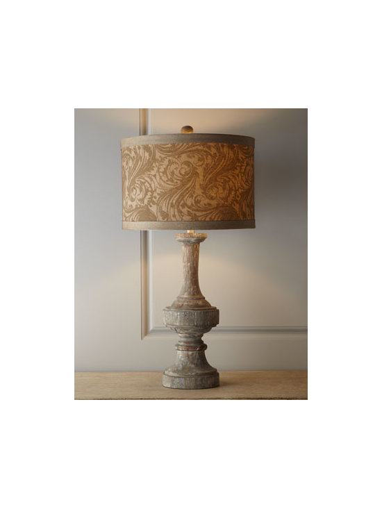 Horchow - Inari Table Lamp - Distinctive table lamp brings natural beauty to the room as well as lighting. The scrolling vine motif on the shade complements the rustic, natural finish of the base perfectly. Made of wood. Raw-cotton shade. Distressed finish. Three-way switch; us...