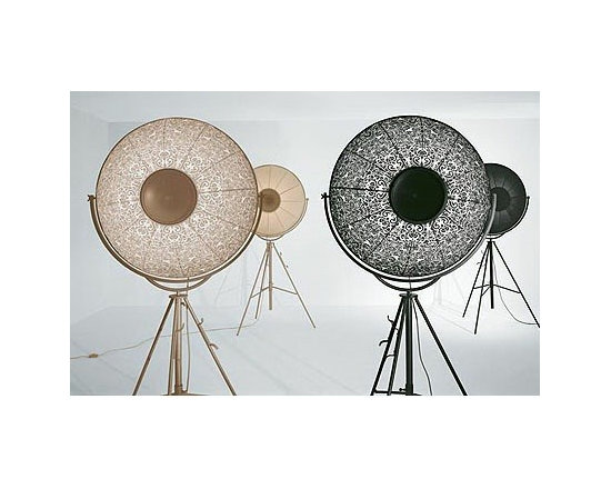 FORTUNY FLOOR LAMP BY PALLUCCO LIGHTING - Fortuny from Pallucco is a large lamp with a framework in profiled steel channel section, drawn flat bar and tubular steel with an epoxy powder finish in either black or titanium.