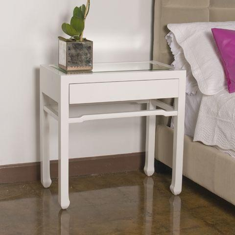 Worlds away nightright white side table asian for Japanese bedside table