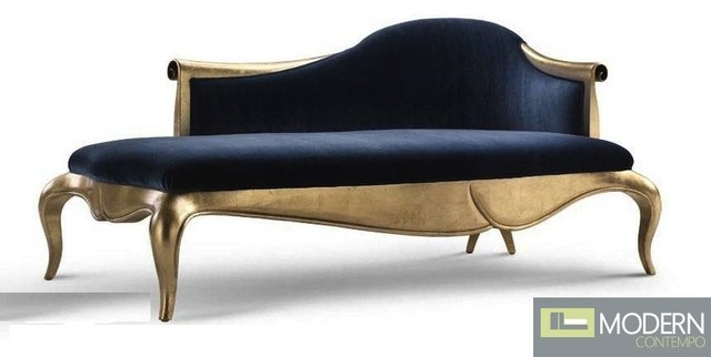Caprice velvet baroque chaise sofa for Ave six curves velvet chaise lounge