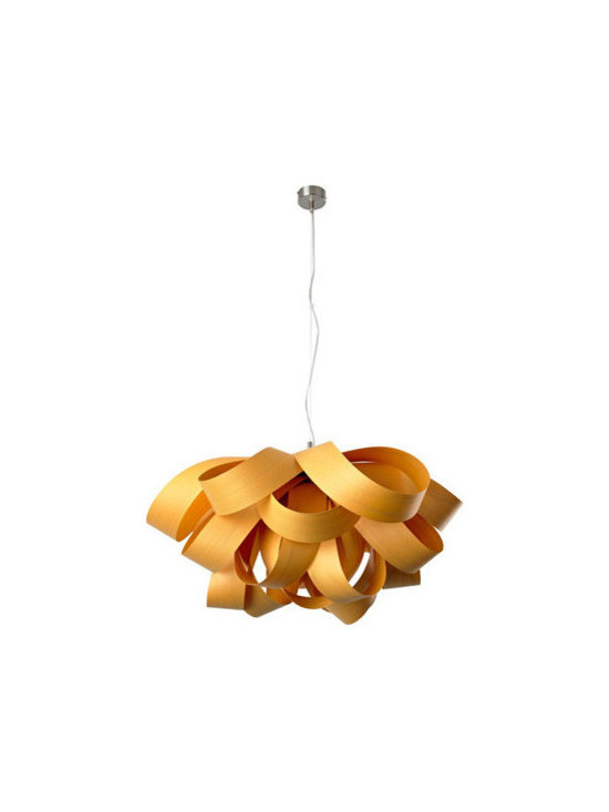 """Eco Friendly Furnture and Lighting - Agatha, created by Spanish design studio Luis Eslava Studio for LZF, is a hanging lamp whose shape is achieved through the concentrical superposition of materials. Same as in every LZF object, its lines remind us of those we find in nature: a flower, a tree, an animal. Light in aspect, Agatha suggests simplicity and originality. This lamp """"blooms"""", forming a semi-spherical object. Available with brushed nickel canopy and hardware, Agatha can be adapted to a wide range of spaces. Las Vegas Hospitality Design Award winner 2011"""