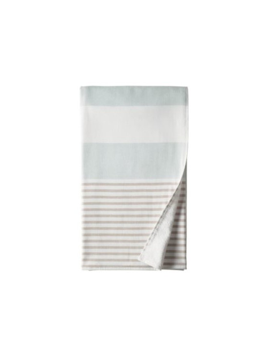 Serena & Lily - Fouta Bath Sheet  Aqua - Woven in the tradition of fine Turkish towels, our version combines smooth cotton on one side with looped cotton terry on the other for added wicking. Wide, sporty stripes of Aaqua alternate with narrow stripes in bark.