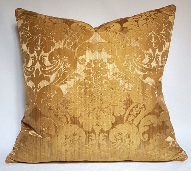 Throw Pillows Damask : Rubelli Ruzante Gold Silk Damask Fabric Throw Pillow Cushion Cover - Decorative Pillows - other ...