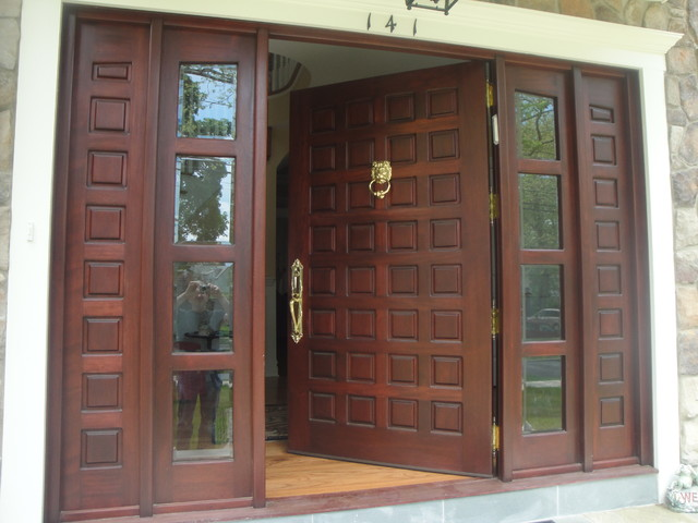 Custom made solid mahogany door front doors new york for Oversized front door
