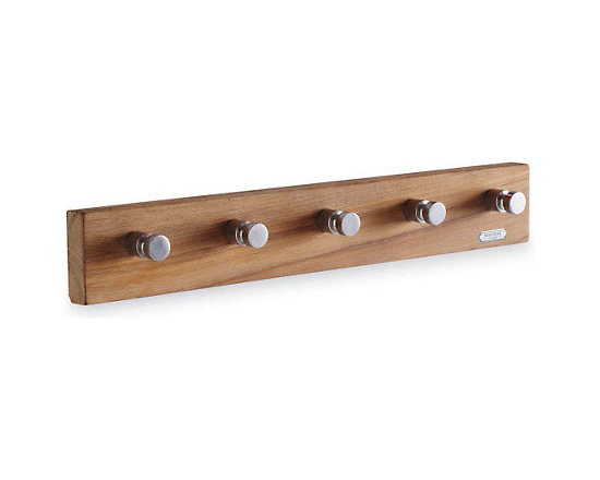 Cutter 5 Hook - The clean lines of this teak hook rack are perfect for the minimalist.
