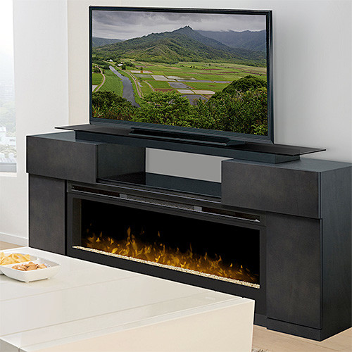 Concord Dark Grey Electric Fireplace Entertainment Center Gds50 1243sc Contemporary Indoor