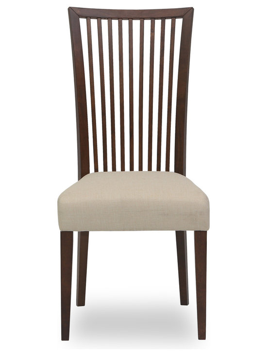 Bryght - Carolina Khaki Fabric Upholstered Cocoa Dining Chair - The Carolina dining chair showcases a simple time honored linear slat back design - a definite treat for the trendy and traditional household alike. Gently curved wooden high back and a cushioned seat provides adequate support for a relaxed sit. The Carolina dining chair is perfect for everyday use or dinner parties.