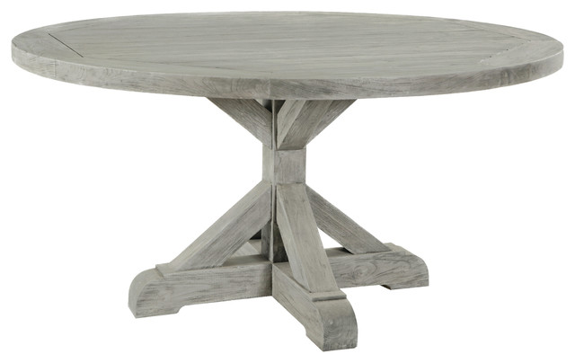 Hauser Harvest Reclaimed Teak Round Dining Table Eclectic Outdoor Dining