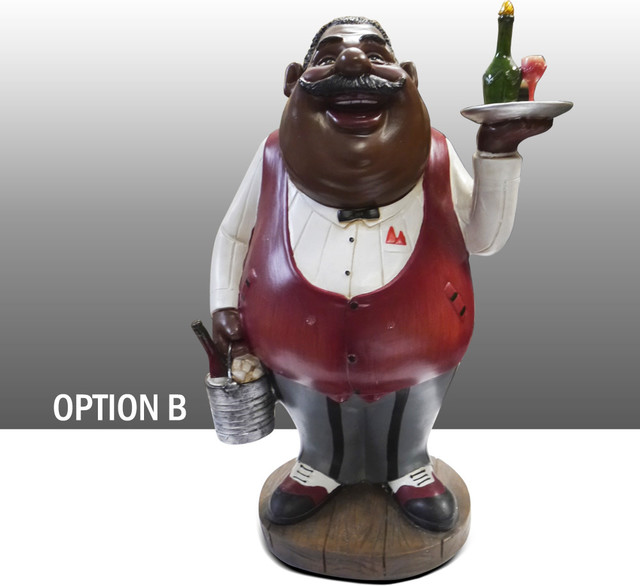 Black Chef Kitchen Figure With Wine Table Art Decor