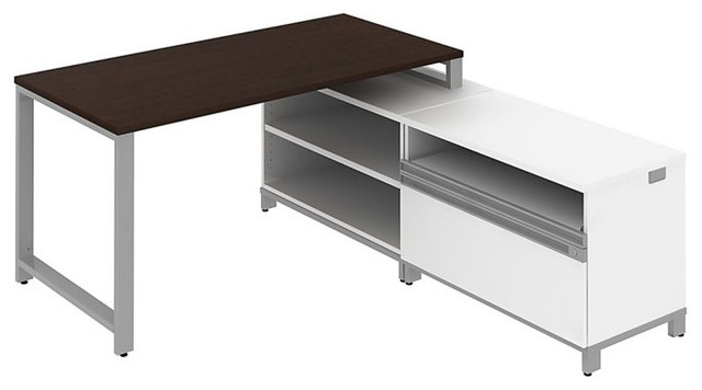 """Bush Momentum 60"""" L-Shape Desk with Storage in Mocha Cherry transitional-home-office-accessories"""