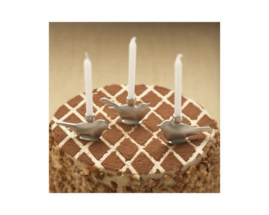 Beehive Bird Birthday Candleholders - This set of six lead free pewter Bird Candleholders with stainless steel tines by Beehive, is inspired by vintage cake decorations.