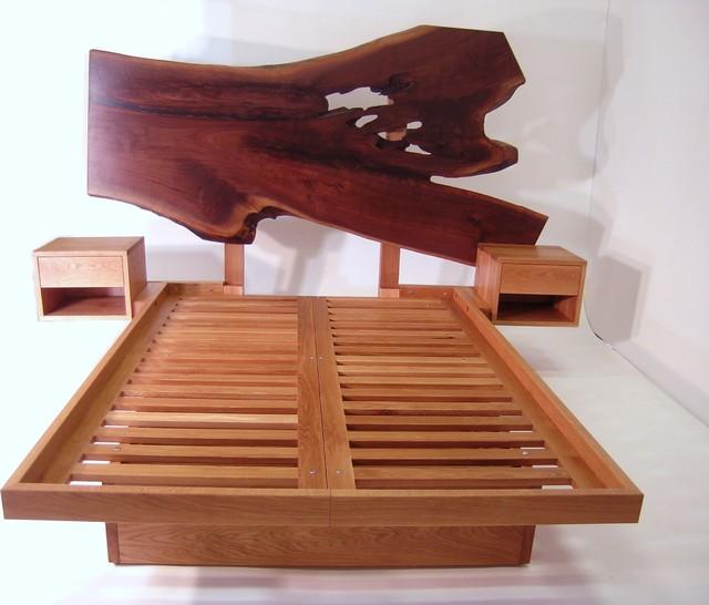 Live Edge Headboard Platform Bed Contemporary