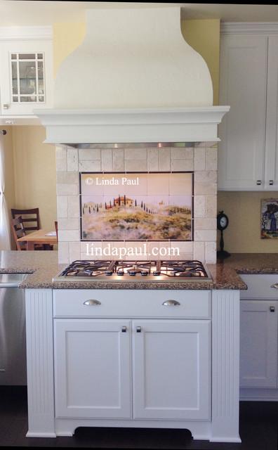 White Kitchen with Tuscan back splash and Subway Tile transitional-kitchen