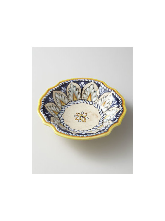 "Operanova - Operanova Four ""Catalina"" Pasta Bowls - Adorn your table with lively dinnerware handcrafted by Italian artisans in hues of blue and yellow. The perfect setting for so many occasions. Made of glazed ceramic. Dishwasher and microwave safe. 12-piece service for four includes dinner and salad..."