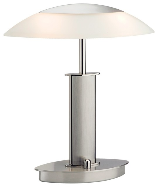 Contemporary Mini Polished and Satin Nickel Holtkoetter Desk Lamp contemporary-table-lamps