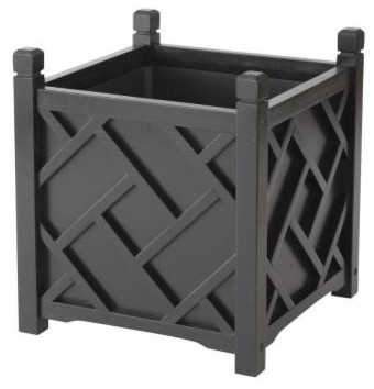 DMC 14 Inch Square Black Chippendale Planter Traditional Outdoor Pots And Planters on Chippendale Planter Home Depot