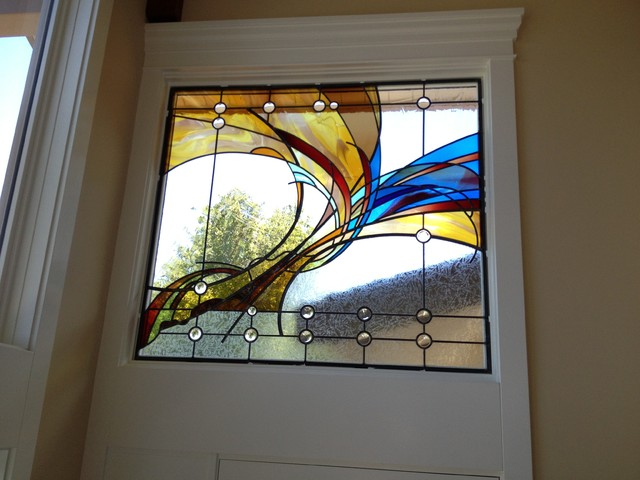 Contemporary stained glass contemporary living room for Modern glass window design