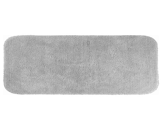 "Sands Rug - Cheltenham Platinum Gray Washable Runner Bath Rug (1'10"" x 5') - Add a layer of plush comfort and safety with the inviting Cheltenham bath and spa rug collection. Each piece, whether a bath runner, bath mat or contoured rug, is created from soft, durable, machine-washable nylon. Each floor piece is backed with skid-resistant latex for safety."