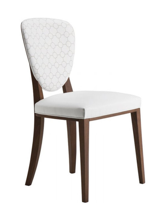 Cammeo Chair - Barstool, solid wood frame. Wooden back. Upholstered seat and front back. With stainless steel kickplate.