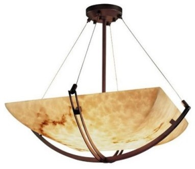 Justice Design Group LumenAria FAL-9721-25-DBRZ 18 in. Pendant Bowl with Crossba modern ceiling lighting