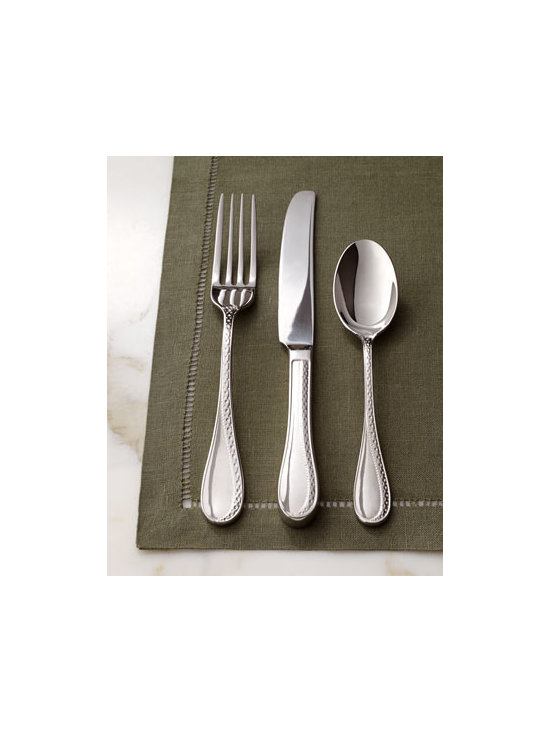 "Lauren Ralph Lauren - Lauren Ralph Lauren Five-Piece ""Spectator"" Flatware Place Setting - An updated version of a classic spectator pattern adds texture to each piece of this striking flatware. Embellished on front and back for added impact. Imported. Made of 18/10 stainless steel. Dishwasher safe. Five-piece place setting includes dinner..."