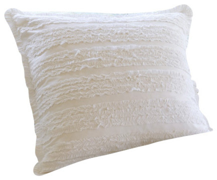 Ruffle Cream Euro Sham traditional-pillowcases-and-shams
