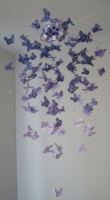 Chandelier Monarch Butterfly Mobile, Purple by Dragon on the Fly contemporary-mobiles