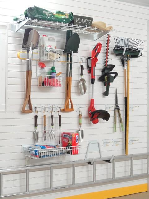 Gardening tools storage kit on tekpanel wall hooks for Gardening tools storage